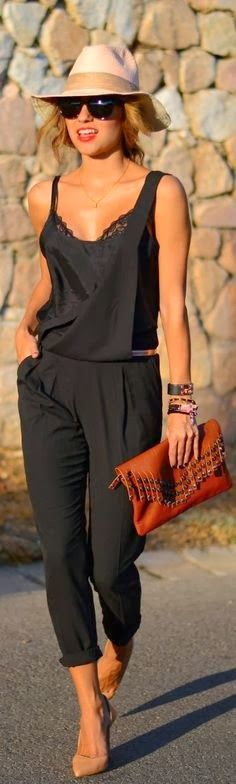 { Cute black jumpsuit } summer outfits womens fashion clothes style apparel clothing closet ideas hat brown purse pants top