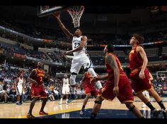 Rudy Gay #22 of the Memphis Grizzlies shoots a layup against Dion Waiters #3, Alonzo Gee #33, and Anderson Varejao #17 of the Cleveland Cavaliers on November 26, 2012 at FedExForum in Memphis, Tennessee.   Credit: Joe Murphy/NBAE/Getty Images  Date: November 27, 2012  Please Like,Pin,or Comment. Thanks.  http://storytopics.blogspot.com