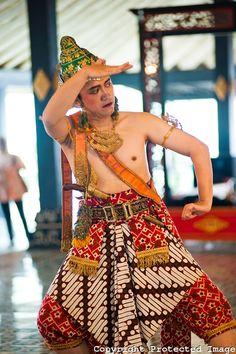 Man Performing a Traditional Javanese Palace dance at The Sultan's Palace, Kraton, Yogyakarta, Java, Indonesia