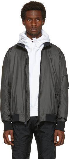 HELMUT LANG Grey Translucent Bomber Jacket. #helmutlang #cloth #jacket
