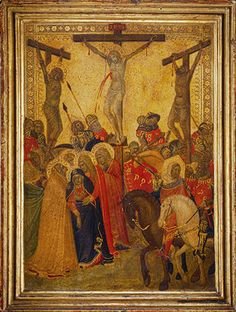 The Crucifixion, 1340s Pietro Lorenzetti. This exquisite picture, of dramatic intensity, belonged to a portable altarpiece.