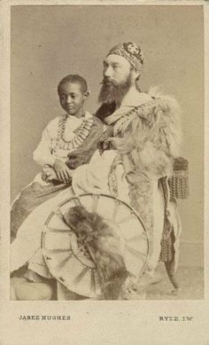 Prince Alemayehu with Captain Speedy (his official guardian) in England. Capt Speedy was the only best friend young prince Alemayehu had and the only person who could understand & speak Amharik language to him. Unfortunately, the boy only lived to age 18, and died of what some say was a broken heart for his mother (she mysteriously disappear while in British custody aboard ship to England) and his father and country.