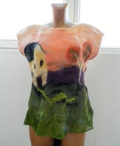 Items similar to Nuno felt blouse house and landscape wool and silk top on Etsy House Of Blouse, Pink Accents, Nuno Felting, Wool Dress, Piece Of Clothing, Paint Designs, Warm Colors, Silk Fabric, Silk Top