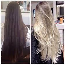 antes e depois de mechas em cabelos com progressiva