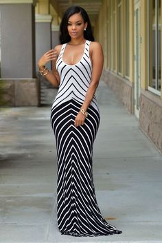 White Navy Strip Maxi Dress