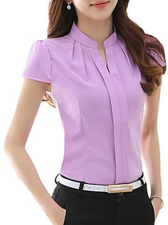 chemise femme on sale at reasonable prices, buy 2017 New Office Women Shirts Blouses White Pink Purple Elegant Ladies Chiffon Blouse Short Sleeve Womens Tops Chemise Femme 3904 from mobile site on Aliexpress Now! Shirt Blouses, Blouse Designs, Blouses For Women, Ideias Fashion, Casual Outfits, Casual Wear, Womens Fashion, Ol Fashion, Korean Fashion