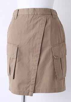 ラップ風ミリタリースカート   【STYLEST・スタイレスト】コーディネート型ファッション通販サイト