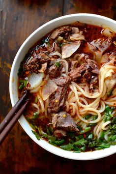 Consisting of a flavorful broth, shaved beef, tender radishes, herbs, chili oil, and chewy noodles, Lanzhou Beef Noodle Soup