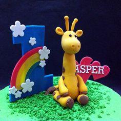 1st Giraffe 3D Birthday Cake for Kids   #cakeshop #cakehouse #fondant #figurine #3dcakes #themedcake #designedcakes #creativecake #kidscake #kualalumpur #johorbahru #selangor #penang #partycake #cake