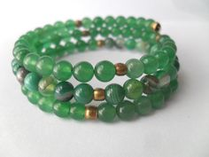 Green Gemstone Bracelet  Adventurine and Green by IyanaDesigns