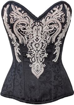 The Violet Vixen - Lady Elegant's Victorian Embelishments Black-White Corset, $229.29 (http://thevioletvixen.com/corsets/lady-elegants-victorian-embelishments/) Deeply divine and embroidered, this detailed beaded steel-boned corset is super high quality and long lasting. Hidden side opening and strong cord lacing ensure years and years of wear!