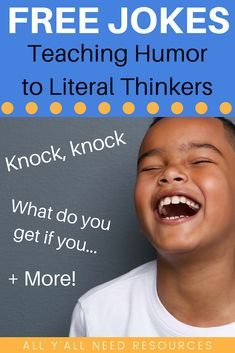 Teaching the language of humor to literal thinkers is important. Whether your students have autism spectrum disorder, learning disabilities, or language disorders, these FREE jokes can be used to addr Free Jokes, Silly Jokes, Jokes For Kids, Hilarious Jokes, Funny, Receptive Language, Speech And Language, Language Arts, Speech Therapy Activities