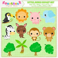 Little Jungle Clipart Set - For Commercial and Personal Use Cliparts This set includes 12 .PNG files. You will get a set of 12 pieces 300dpi high-quality cliparts in .PNG format with transparent background. This clipart set includes a toucan clipart, a lion clipart, a hippo