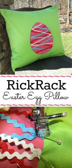 Free Easter Egg Pillow Pattern with adorable rickrack trim. This technique can also be applied with any other applique' template! Get this free pattern TODAY | DIY Crush