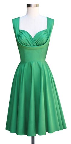The Trashy Diva Honey dress in green poplin is perfect for a dressy or casual event.