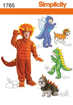 Simplicity - S1765 Child's & Dog's - Dinosaur & Dragon Costumes - WeaverDee.com Sewing & Crafts - 1