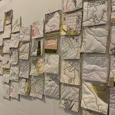 Pink Rivers Cut up pieces Using thread as her drawn line, Paula Kovarik connects the elements of her work with pathways that meander, leading the viewer on a journey that begs for a closer look. Map Quilt, Quilts, Quilt Blocks, Denim Art, Creative Textiles, Thread Painting, Egyptian Art, Textile Artists, Map Art