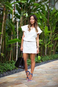 aimee song white denim dress tibi heels