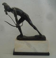 Bronze, nackter Krieger  Schmidt-Hofer. Pfeil und Bogen Bogenschütze Jugendstil