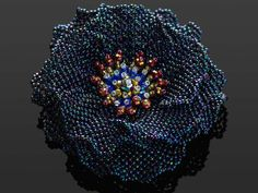 Beadwoven brooch by Handmade Beaded Corsage, a Japanese maker of fine beaded pieces. Bead Embroidery Jewelry, Beaded Embroidery, Beaded Jewelry, Ruffle Beading, Beaded Brooch, Beading Projects, Beads And Wire, Beaded Flowers, Bead Art