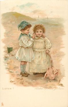 LISTEN!-painted by Helen Jackson-ART, CHROMOGRAPHED IN GERMANY, same images, French backs SERIE 626, some images occur in Jack & Jill book First Use:21/12/1905