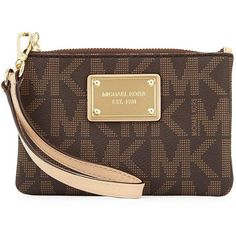 MICHAEL Michael Kors Jet Set Small Wristlet ($51) ❤ liked on Polyvore featuring bags, handbags, clutches, brown, pvc purse, brown wristlet, wristlet purse, brown handbags and brown purse