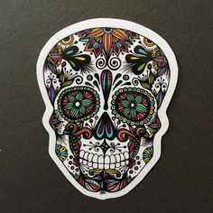 Zentangle Sugar Skull Sticker by ZenspireDesigns on Etsy
