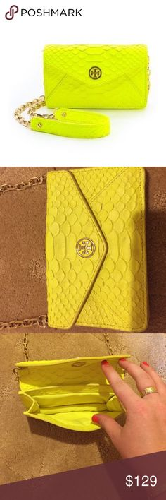 Tory beach neon yellow snakeskin crossbody MINT! Snakeskin yellow worn only a couple of times Tory Burch Bags Crossbody Bags