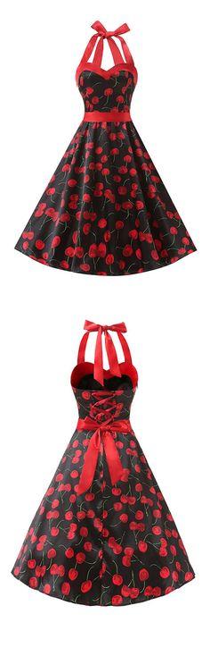 50s dress,vintage style dress,rockabilly dress,retro dress,cherry print dress,halter dress