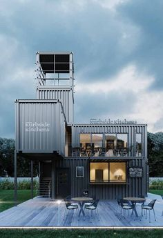 gorgeous 37 Relaxing Container House Design Ideas That Easy To Copy Container Coffee Shop, Container Cabin, Container House Plans, Container Houses, Container Architecture, Container Buildings, Shipping Container Restaurant, Shipping Container Home Designs, Shipping Containers