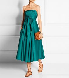 Tibi Satin Strapless Satin-Poplin Midi Dress ($625)  Color Etiquette: Dos and Don'ts for Every Occasion via @WhoWhatWear