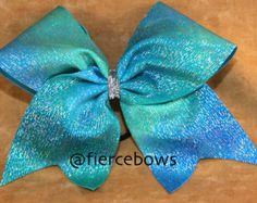 Blue Rain Cheer Bow