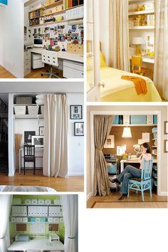 Guest room/office   High shelves & bins for linen storage