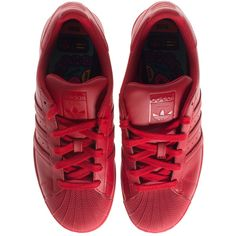 ADIDAS X PHARRELL WILLIAMS Superstar Supercolor Red Flat leather... ($110) ❤ liked on Polyvore featuring shoes, sneakers, adidas, adidas trainers, leather sneakers, red flat shoes, red leather sneakers and real leather shoes