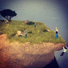Goldman's depiction of a clifftop crime scene. (Photo: Courtesy Abigail Goldman)