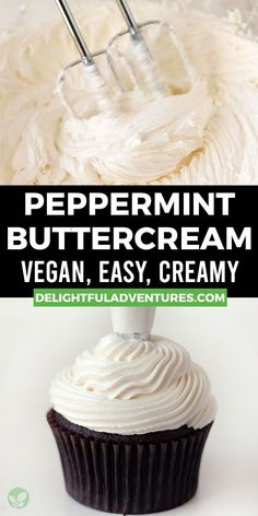 A peppermint buttercream frosting recipe that's really the best because it's easy, creamy, smooth, delicious, and perfect for holiday cakes, cupcakes, and cookies! This recipe can be made vegan / dairy-free, or it can be made with regular butter. You can customize this peppermint buttercream by topping it with crushed candy canes, or you can add a few drops of colour to make it stand out even more. Easy Vegan Cake Recipe, Vegan Cupcake Recipes, Vegan Gluten Free Desserts, Gluten Free Cupcakes, Vegan Cupcakes, Vegan Treats, Vegan Foods, Sweets Recipes, Vegan Christmas