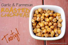 Garlic & Parmesan Roasted Chickpeas sound like a delicious healthy snack for in between meals.