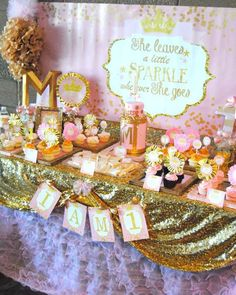 Pink and gold sparkle birthday party! See more party ideas at CatchMyParty.com!
