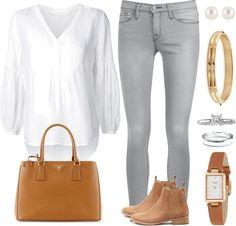 Andrea Moda y Asesoría: Blusa blanca Jean gris claro