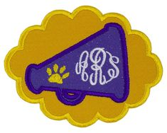 Tiger Paw Football Megaphone Monogram Personalized Patch Name Patches, Sew On Patches, Iron On Patches, Tiger Paw, Football Fans, Monogram, Embroidery, Sewing, Projects