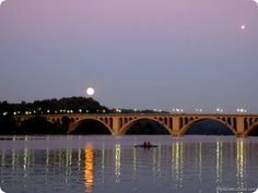 Reminds me of my early morning drives.  Stunning view of the Key Bridge in Georgetown (Washington DC) in the early morning.