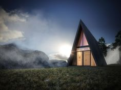 The Triangle Cliff House is a beautiful Vacation House design by German architect Matthias Arndt. Suited for those who favor life on the edge. A Frame Cabin, A Frame House, Cabin Design, House Design, Master Thesis, Triangle House, Wellness Resort, Cliff House, Hill House