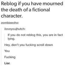 Dude, I cried at Jon Snow like I lost the brother I never had, so bad I was making fun of myself even while I did it<< Where do I start? Dobby, Sirius, Peggy Carter, Amy and Rory, Ianto, Tosh, Owen Too many feels I'm out