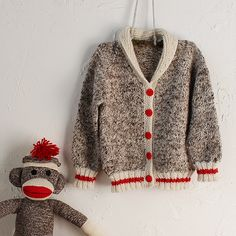 with matching sock monkey! (I love sock monkey stuff - Monique) Knitting Blogs, Sweater Knitting Patterns, Knitting For Kids, Crochet For Kids, Knit Patterns, Free Knitting, Knitting Projects, Baby Knitting, Crochet Baby