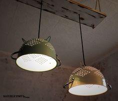 Kreative Deckenlampe aus altem vintage Sieb / creative lamp made of an old sieve made by Naturlichwey via DaWanda.com