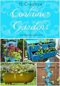 15 Creative Container Gardens - www.sandandsisal.com