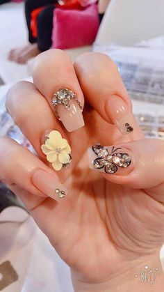 Last two not first 3 Fabulous Nails, Gorgeous Nails, Pretty Nails, 3d Nails, Swag Nails, Neutral Nail Art, 3d Nail Designs, Glittery Nails, Flower Nail Art