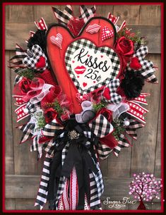 Your place to buy and sell all things handmade Santa Wreath, Christmas Mesh Wreaths, Valentine Day Wreaths, Valentines Day Decorations, Valentine Day Crafts, Deco Mesh Wreaths, Door Wreaths, Spring Wreaths, Christmas Decorations