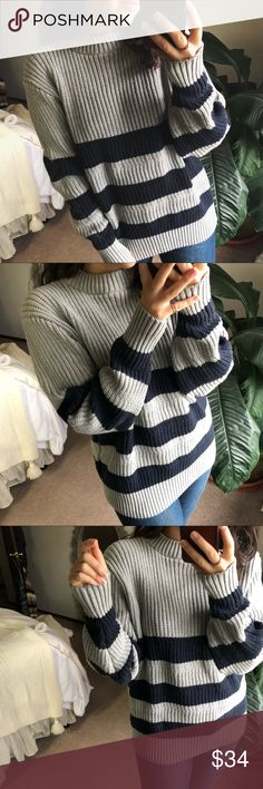 RANA striped mock neck knit . 100% cotton . ribbed kit . fits an xs-med sized gal  s i z i n g - 5'2 . 34A . 32-28-38  << discount depends on the item(s) >> Sweaters