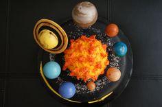 Solar system birthday cake with fondant planets.